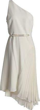 Halston Heritage Woman Asymmetric Embroidered Twill Midi Dress Beige Size 12 Halston Heritage