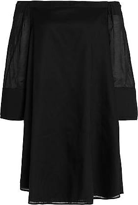 Halston Heritage Woman Off-the-shoulder Cotton-gauze Mini Dress Black Size 2 Halston Heritage