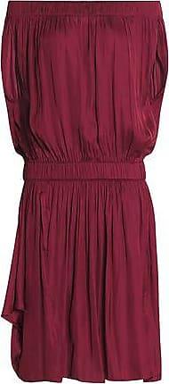 Halston Heritage Woman Off-the-shoulder Gathered Sateen Dress Merlot Size S Halston Heritage