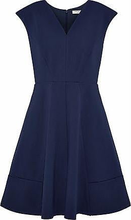 Halston Heritage Woman Pleated Ponte Mini Dress Midnight Blue Size 14 Halston Heritage