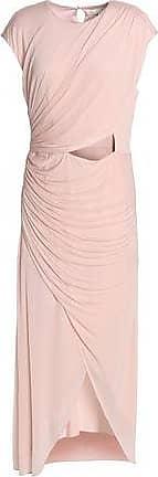 Halston Heritage Woman Wrap-effect Cutout Chiffon Midi Dress Pastel Pink Size 6 Halston Heritage