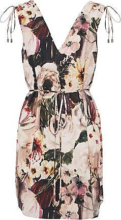 Haute Hippie Woman Lace-up Floral-print Crepe De Chine Mini Dress Off-white Size S Haute Hippie