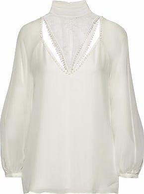 Haute Hippie Woman Lace-paneled Silk Blouse White Size XS Haute Hippie