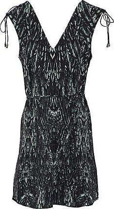 Haute Hippie Woman Printed Crepe De Chine Mini Shirt Dress Dark Green Size L Haute Hippie