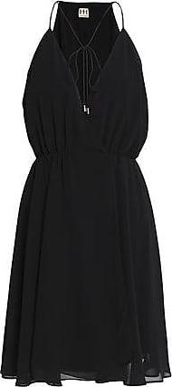 Haute Hippie Woman Gathered Chiffon Mini Wrap Dress Black Size S Haute Hippie