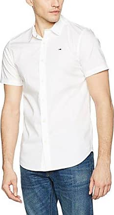 Hilfiger Denim Thdm Basic Stretch Shirt S/S 57, Camisa para Hombre, Blanco (Classic White), 48 cm (Talla del Fabricante: Medium) Tommy Jeans