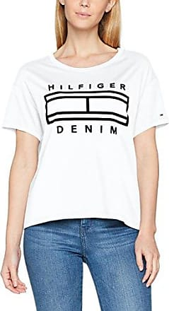 Tommy Jeans Hilfiger Denim Thdw Basic CN T-Shirt S/S 11, Camiseta para Mujer, Blanco (Bright White 113), Large