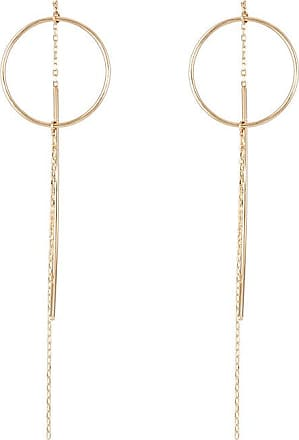 Hirotaka Womens Yellow Gold Wire-Ring & Chain Earrings
