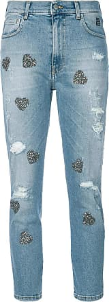 heart appliqué cropped jeans - Blue HISTORY REPEATS