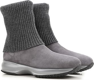 Boots for Women, Booties On Sale, Cement Grey, Suede leather, 2017, 2.5 Hogan