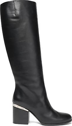 Hogan Woman Embellished Leather Knee Boots Black Size 34.5 Hogan