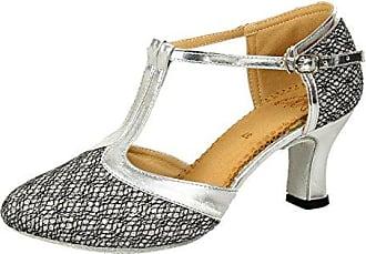 Honeystore Damen's Geschlossene Zehe T-Riemen Glitter Tanzschuhe Grau 3 UK