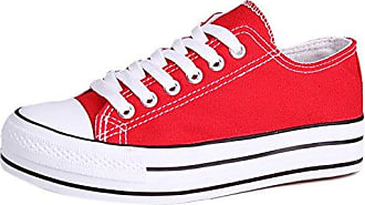 Honeystore Unisex's Schnürung Leinwand Flache High-Cut Schuhe Erwachsene Sneaker Rot 42 EU