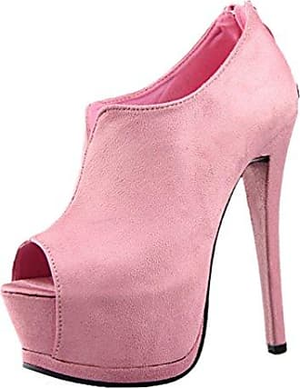 HooH Damen Büro-Dame Pointed Toe Stiletto Pumps-Rosa-35