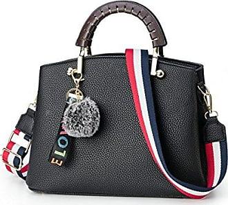 Frauen Handtasche Weibliche PU Ledertaschen Handtaschen Damen Portable Umhängetasche Büro Tasche Totes,Black-26*10*19cm Hope
