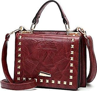 Frauen Umhängetasche PU Ledertaschen Handtaschen Kleine Portable Messenger Bag Damen Umhängetasche Totes,WineRed-20*12*15cm Hope