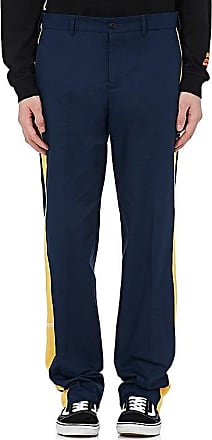 contrasting side panel straight leg trousers - Blue HPC Trading Co.