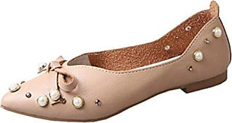 Frauen Casual Schuhe Flats Slip-On Fliege Single Schuhe (39, Braun) Hunpta