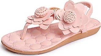 Damen Sandalen Summer Flach Strand Flip Flops Bohemia Freizeit Blumen Schuhe Pink 36