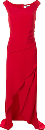 asymmetric draped gown - Red Hussein Chalayan