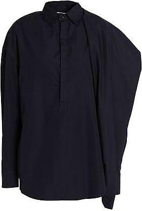 Chalayan Woman Flared Cotton-poplin Shirt Midnight Blue Size 42 Hussein Chalayan