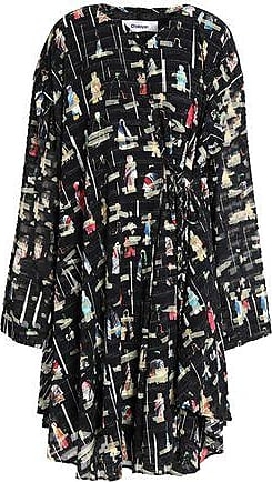 Chalayan Woman Ruffled Printed Fil Coupé Dress Black Size M Hussein Chalayan