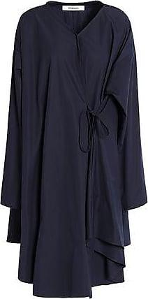 Chalayan Woman Flared Draped Cotton-poplin Shirt Dress Midnight Blue Size 42 Hussein Chalayan