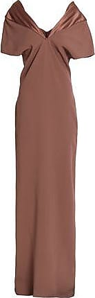 Chalayan Woman Draped Crepe-satin Gown Brown Size 44 Hussein Chalayan