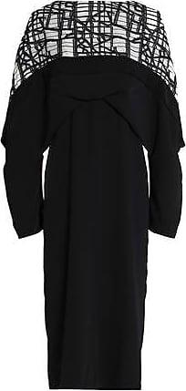 Chalayan Woman Ruffle Jersey-paneled Poplin Dress Anthracite Size L Hussein Chalayan