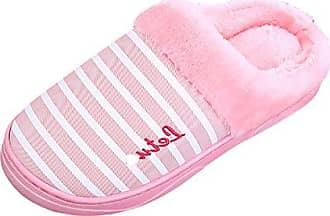 ICEGREY Damen Mode Warme Hausschuhe Gemütliche Plüsch Fleece Gefüttert Slip auf Wärmehausschuhe Plüsch Hausschuhe Winterschuhe Rosa 36 37