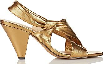 Sandales hautes nouées en cuir métalliséIntropia