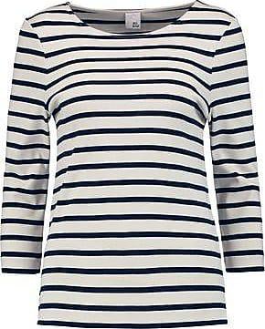 Iris & Ink Woman Madeline Breton Striped Cotton Top Navy Size XS IRIS & INK