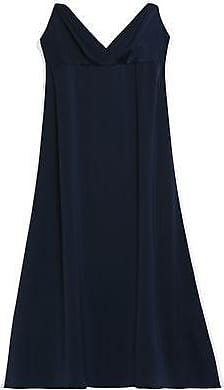 Iris & Ink Woman Max Two-tone Satin-crepe Midi Dress Midnight Blue Size 14 IRIS & INK