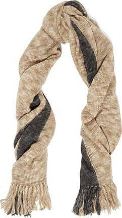Isabel Marant Woman Fringed Striped Wool And Cashmere-blend Scarf Burgundy Size Isabel Marant