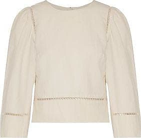 Isabel Marant Woman Rifen Open Knit-trimmed Linen And Cotton-blend Top Ivory Size 34 Isabel Marant
