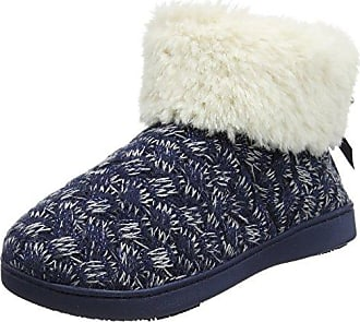 Isotoner Damen Cable Knit Bootie Slippers Hohe Hausschuhe, Blau (Navy and Cream), 38 EU