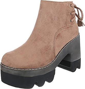 Ital-Design Overknees Damen-Schuhe Klassischer Stiefel Keilabsatz/Wedge Keilabsatz Reißverschluss Stiefel Grau, Gr 37, 0-68-