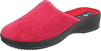 Ital-Design Hausschuhe Damen-Schuhe Pantoffeln Warm Gefütterte Freizeitschuhe Rot, Gr 37, Pan-1-203-
