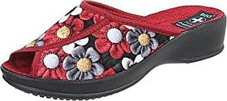 Ital-Design Hausschuhe Damen-Schuhe Pantoffeln Pantoffel Freizeitschuhe Schwarz Multi, Gr 39, 22346-