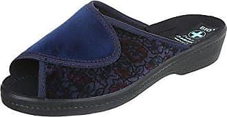 Ital-Design Hausschuhe Damen-Schuhe Pantoffeln Pantoffel Freizeitschuhe Dunkelblau, Gr 37, 22336-