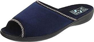 Ital-Design Hausschuhe Damen-Schuhe Pantoffeln Pantoffel Freizeitschuhe Dunkelblau, Gr 39, 22332-