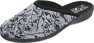 Ital-Design Hausschuhe Damen-Schuhe Pantoffeln Pantoffel Freizeitschuhe Grau Multi, Gr 39, 22350-