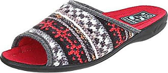 Ital-Design Hausschuhe Damen-Schuhe Pantoffeln Pantoffel Freizeitschuhe Rot Multi, Gr 39, 22342-