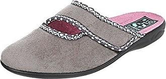 Ital-Design Hausschuhe Damen-Schuhe Pantoffeln Pantoffel Klettverschluss Freizeitschuhe Grau, Gr 37, 22700-