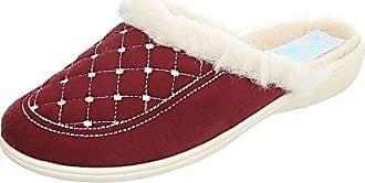 Ital-Design Hausschuhe Damen-Schuhe Pantoffeln Warm Gefütterte Freizeitschuhe Weinrot, Gr 37, 19379-