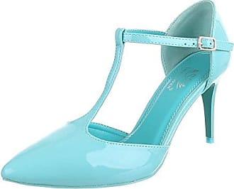 Ital-Design High Heel Damen Schuhe T-Spange Pfennig-/Stilettoabsatz High Heels Schnalle Pumps Hellblau Gr 37...