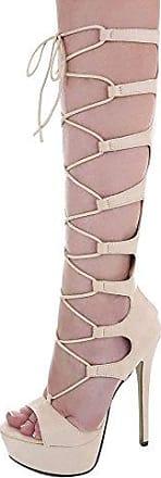 Ital-Design High Heel Sandaletten Damen-Schuhe High Heel Sandaletten Pfennig-/Stilettoabsatz High Heels Reißverschluss Sandalen & Sandaletten Camel, Gr 35, Xk-0045-