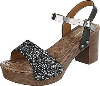 Damen Sandalen Strass Metall Plateaustiefel Keile Flache Sandalen, 40, Schwarz