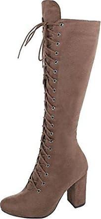 Ital-Design Schnürstiefel Damen-Schuhe Klassischer Stiefel Pump Schnürer Reißverschluss Stiefel Grau, Gr 38, Fc-H107-