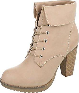 Ital-Design Schnürstiefeletten Damen-Schuhe Schnürstiefeletten Pump High Heels Schnürsenkel Stiefeletten Blau, Gr 37, Jr-002-